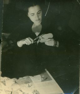 Slobodkina editing her collage illustrations for Caps for Sale, c. 1939. Photograph by Fritz Glarner