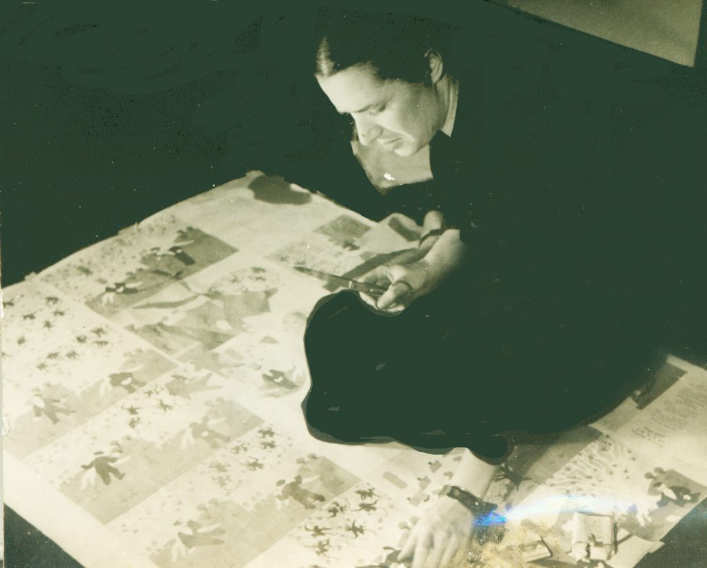 "Esphyr working on ""Caps for Sale"", 1938"