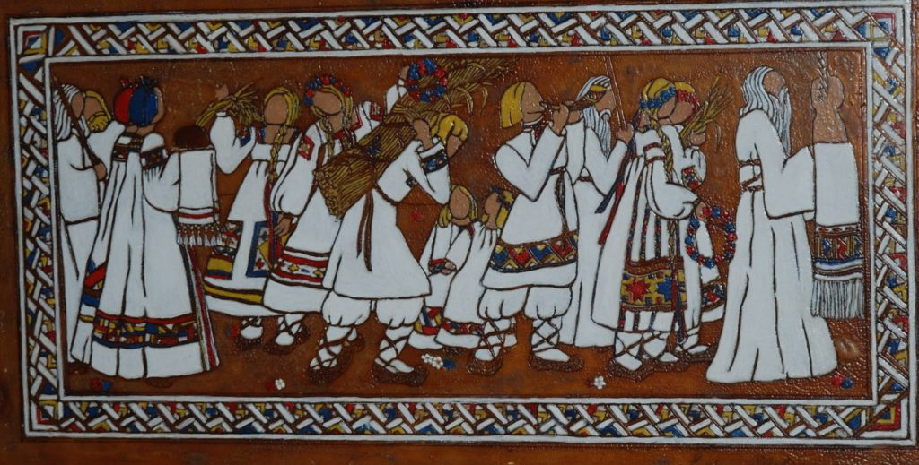 """Autumnal Procession in Ancient Russia,"" c.1929-30, oil on etched shellac-coated glass, Heckscher Museum of Art."