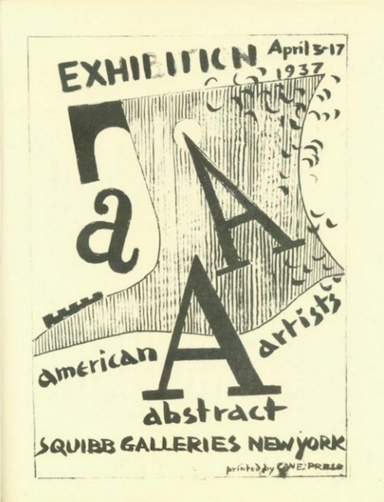 Cover from the AAA's first exhibition catalog, Squibb Galleries, 1937.