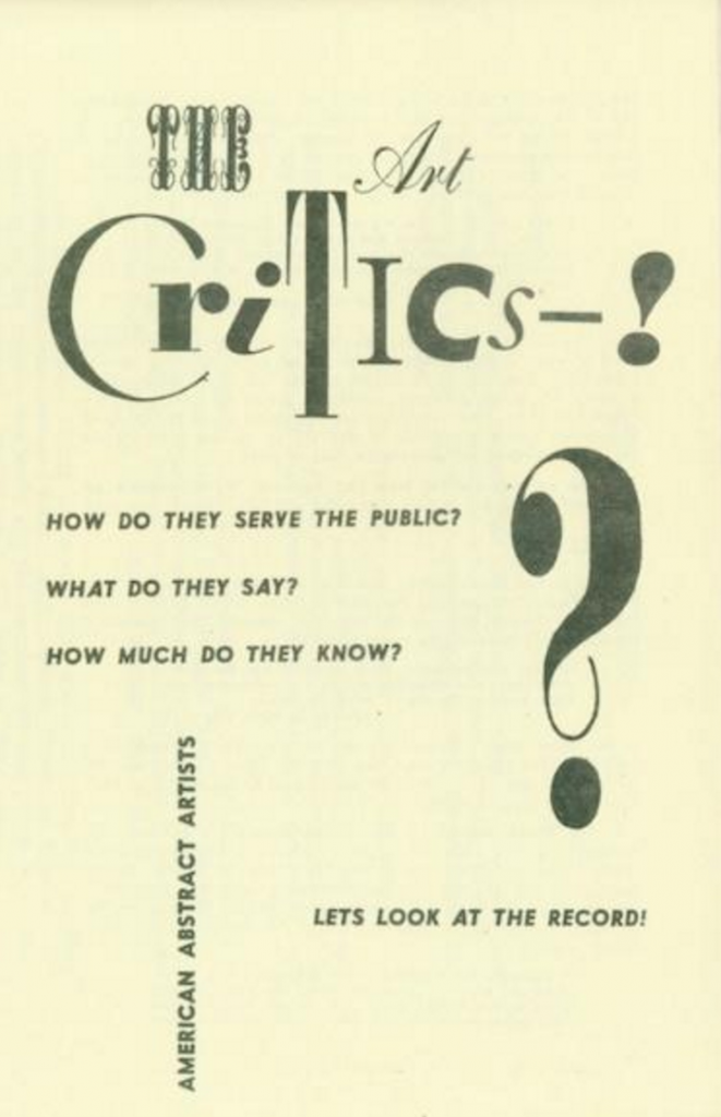 Cover of the critical pamphlet handed out during the AAA's fourth annual exhibition in June 1940.