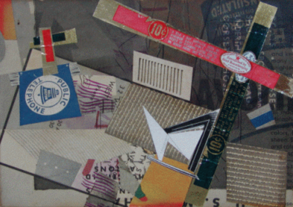 """Crossroads,"" 1948, paper and foil collage, Slobodkina Fondation"