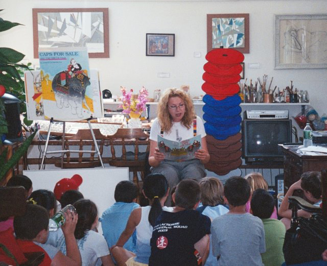 Ann Marie at a reading, 2002